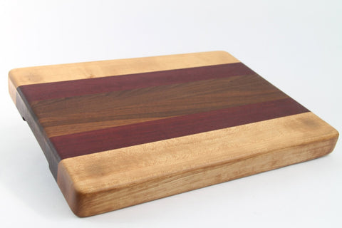 Handcrafted Wood Cutting Board - Edge Grain - Walnut, Purpleheart & Maple. No slip bottom, easy grip. For him or her, chef or cook
