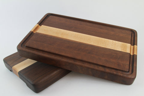 Handcrafted Wood Cutting Board - Edge Grain - Walnut and Maple. No slip bottom and easy grips. Optional juice groove. For Chefs or cooks!