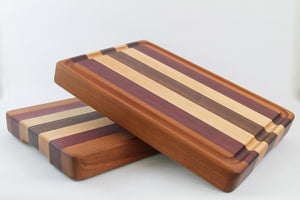Handcrafted Wood Cutting Board - Edge Grain - Cherry, Maple, Purpleheart & Walnut. No slip and easy grip. Optional juice groove. Chefs/cooks