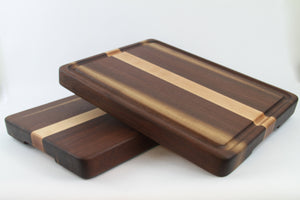 Handcrafted Wood Cutting Board - Edge Grain - Maple & Walnut. No slip and easy grip. Optional juice groove. For him or her, chefs or cooks!