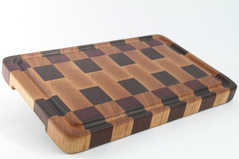 Handcrafted Wood Cutting Board - End Grain - Cherry, Purpleheart & Walnut. No slip bottom and easy grip. For him or her, chef or cook