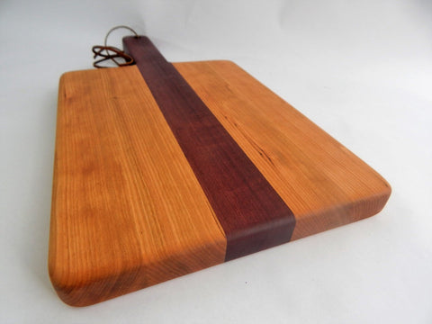 Handcrafted Wood Cutting Board - Edge Grain Paddle  Board -Cherry & Purpleheart.
