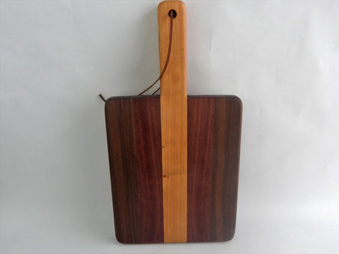 Handcrafted Wood Cutting Board - Edge Grain -Cherry, Walnut & Purpleheart.  Great gift for him or her, Chefs or cooks! Paddle board