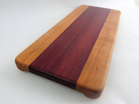 Handcrafted Wood Cutting Board - Edge Grain - Cherry & Purple Heart .