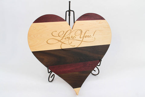 Heart Shaped Cutting Board. Personal Engraving! Maple, Walnut & Purpleheart wood.
