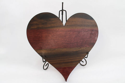 Handcrafted Wood Valentines Day Heart/Cutting Board. Personal Engraving! Walnut & Purpleheart wood! Gift for Valentine, Gift for her