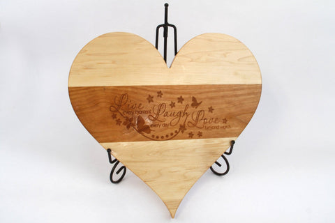 Heart Shaped Cutting Board. Personal Engraving! Maple & Cherry wood!