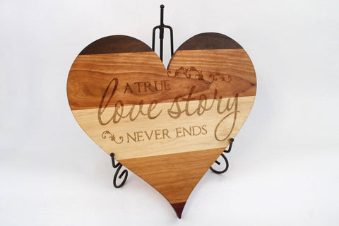 Heart Shaped Cutting Board. Personal Engraving! Maple, Walnut & Cherry wood!
