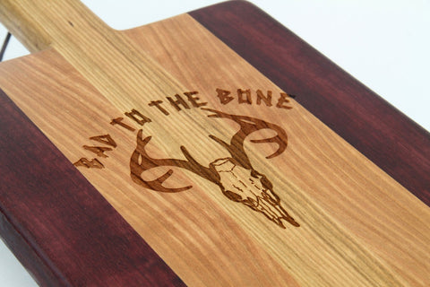 Handcrafted Wood Cutting Board - Paddle Board,Cherry & Purple heart, Laser engraved, Bad to the bone