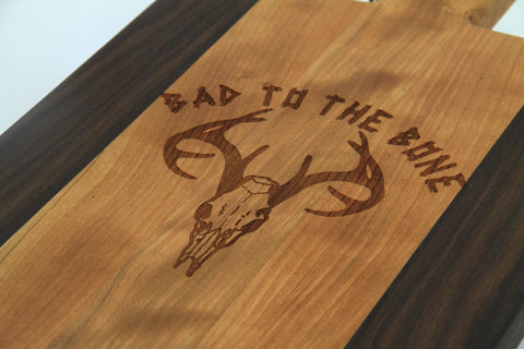 Handcrafted Wood Cutting Board - Paddle Board,Cherry & Walnut, Laser engraved, Deer, Bad to the bone, Texas, Antler