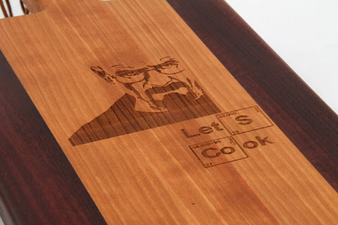 Handcrafted Wood Cutting Board - Paddle Board,Cherry & Purple Heart, Breaking Bad,funny cutting board,laser engraved, Lets cook,Heisenberg