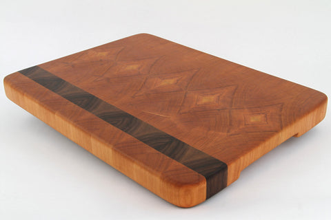 Stunning Handcrafted Wood Cutting Board - End Grain - Walnut and Cherry Wood Cutting board. No slip bottom! Wow!!!
