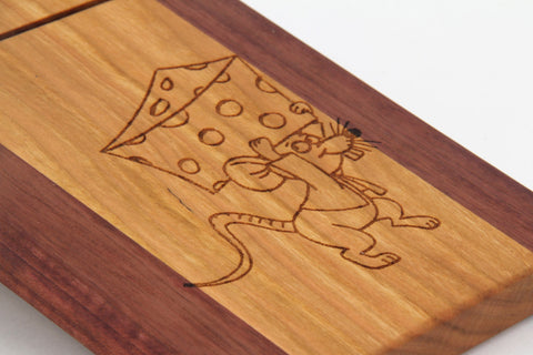 Wood Cheese Slicer/Cutter - Cherry and Purpleheart, Mouse stealing cheese.Laser is engraved.