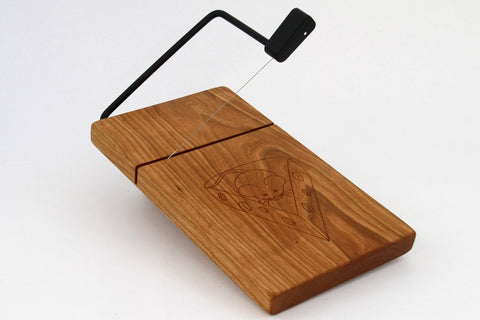 Wood Cheese Slicer/Cutter - Solid Cherry, Mouse, Laser engraved.
