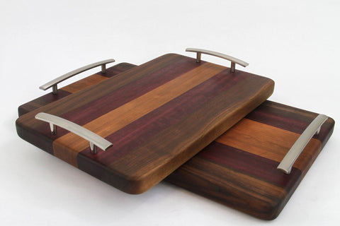 Handcrafted Wood Cutting/Serving Tray - Edge Grain - Walnut, Purpleheart & Cherry