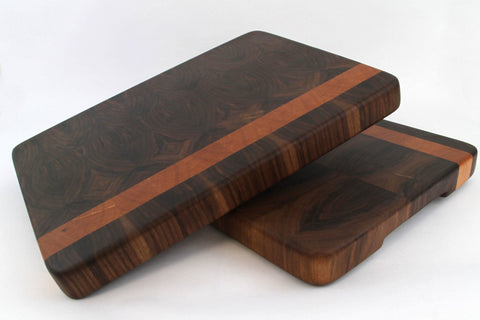 Handcrafted Wood Cutting Board - End Grain - Cherry & Walnut. No slip and easy grips. For him or her, Chefs or cooks