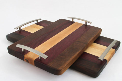 Handcrafted Wood Cutting/Serving Tray - Edge Grain - Walnut, Purpleheart & Maple. No slip, easy grip handles, perfect for breakfast in bed!