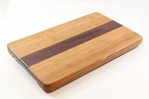Handcrafted Wood Cutting Board - Edge Grain - Cherry and Purpleheart woods.