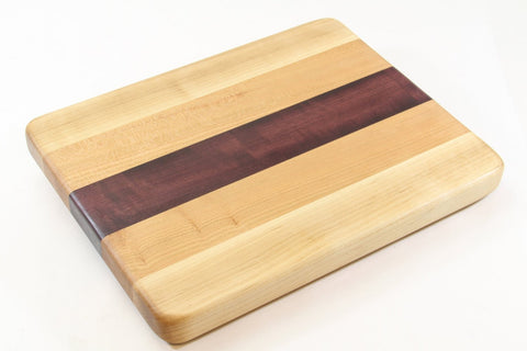 Handcrafted Wood Cutting Board - Edge Grain - Maple, Cherry and Purpleheart woods.