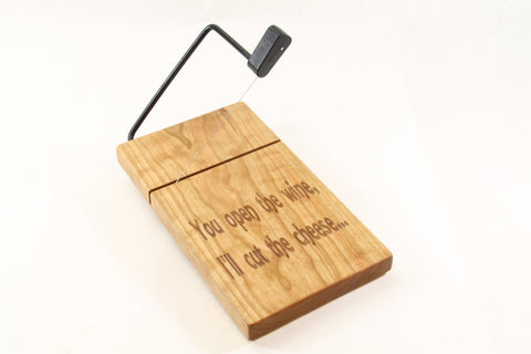 Wood Cheese Slicer/Cutter - Solid Cherry, Wine & cheese, Laser engraved.