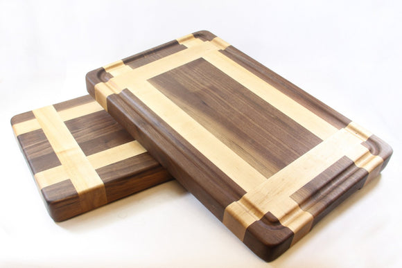 Handcrafted Wood Cutting Board - Edge Grain - Maple & Walnut. No slip and easy grip. Optional juice groove. Gift for wedding! For Chef/cook!