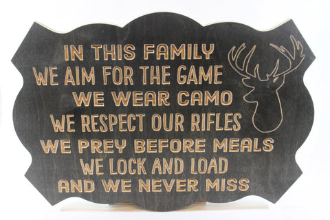 Handcrafted Wood sign! Hunting family rules. Hunters gift! Hunter decor! Great gift! Rustic home decor!