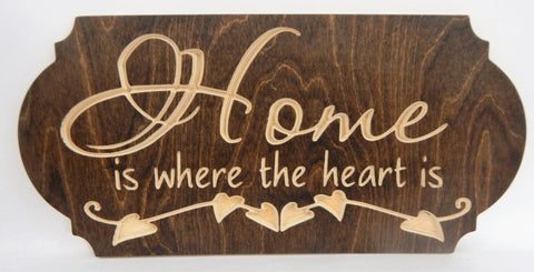 Handcrafted Wood sign! Home is where the heart is! Family! Great gift! Rustic home decor!