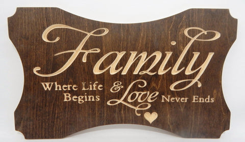 Handcrafted Wood sign! Family, where life begins & love never ends! Great gift! Rustic home decor!