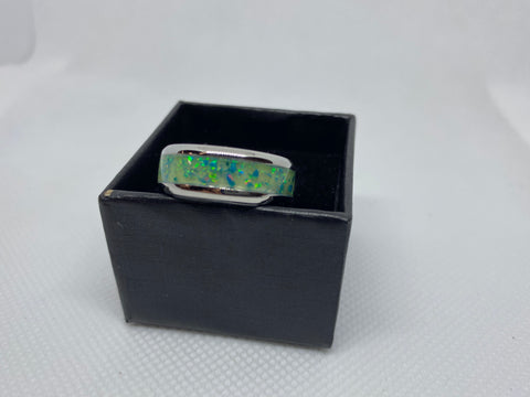 Stainless Steal Ring with Green Glow Powder and Crushed Opal