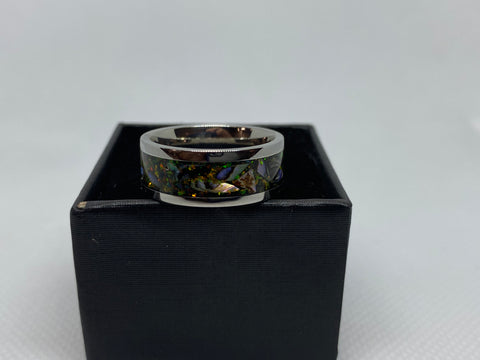 Stainless Steal Ring with Crushed Opal and Paua ( Abalone )