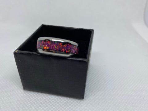 Stainless Steal Ring with Crushed Opal