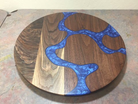 Walnut Resin Inlayed Lazy Susan