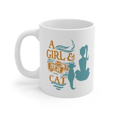 A Girl And Her Cat 11oz Mug