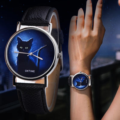 Black Cat Women's Quartz Watch with Leather Band