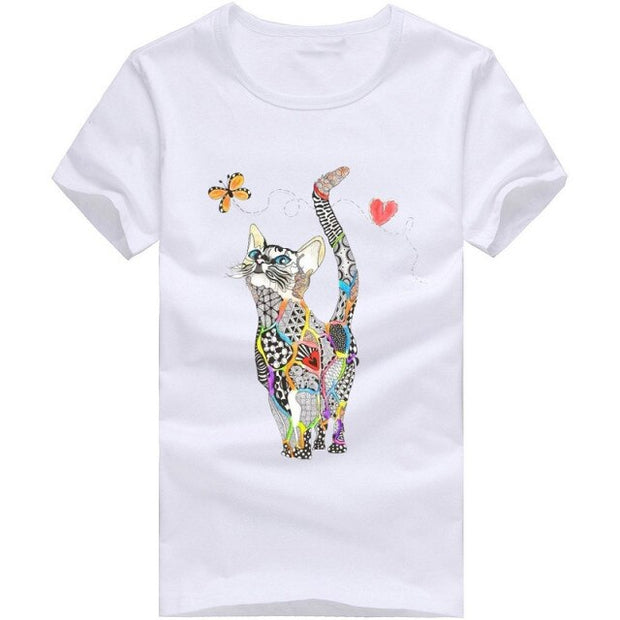 Women Summer Short Sleeve Sequined Cat Print T shirts Fashion White Top Tees Women girls Designer Clothing