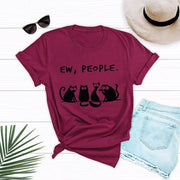 JCGO Summer Fashion Women T-shirt Cotton 5XL Plus Size Casual Short Sleeve Ladies Tee Tops Cute Cartoon Cat Print T Shirts