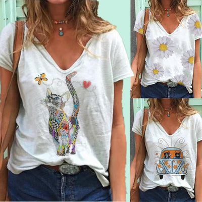 Cute Cat Butterfly Print Women T-shirt Fashion Aesthetic Design Cotton Polyester T-shirts Casual V-neck Short Sleeve Street Tops