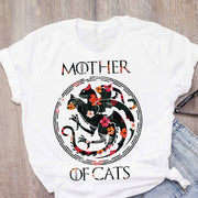 Women Cat Mother Flower Floral Pet Short Sleeve Fashion Print Summer Lady Womens Clothing Tops T-Shirt Shirt Tees Female T Shirt
