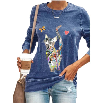 Cute Cat Print Casual Women T-shirt Long Sleeve Plus Size Autumn New Cartoon Tees Women's 3XL 4XL 5XL Blue Black Shirts Femme