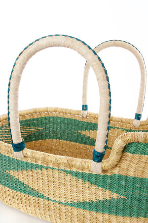 Seafoam Moses Basket with Leather Handles