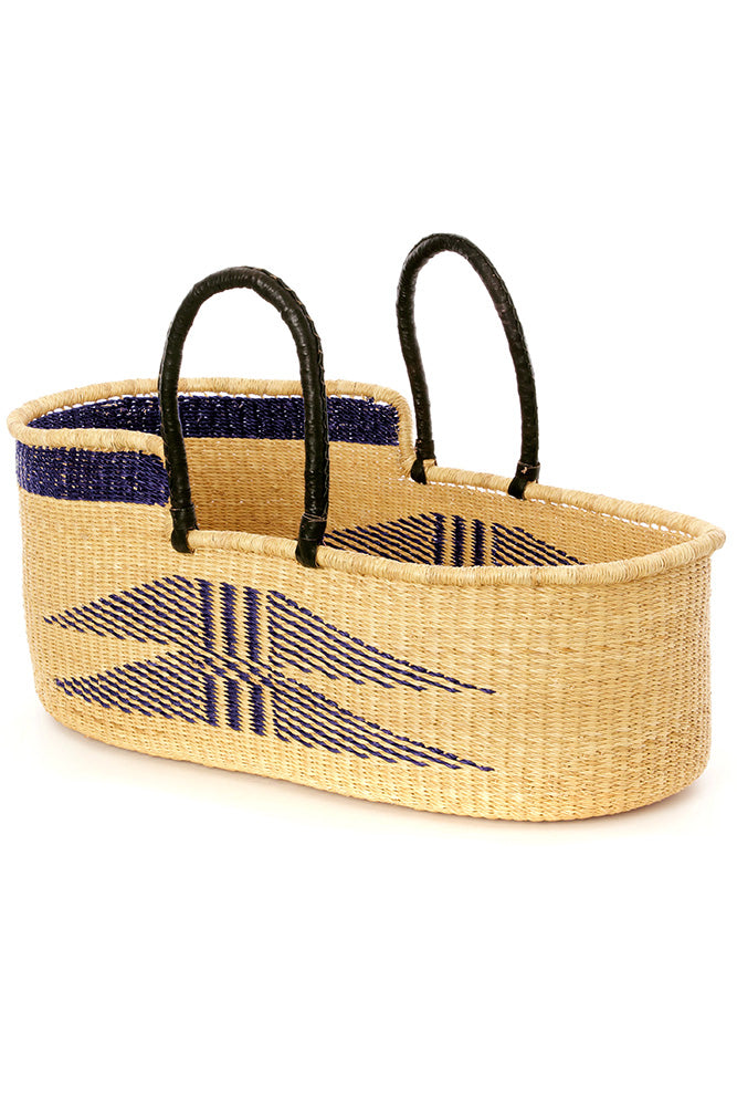 Angel Wings Moses Basket with Leather Handles - Navy