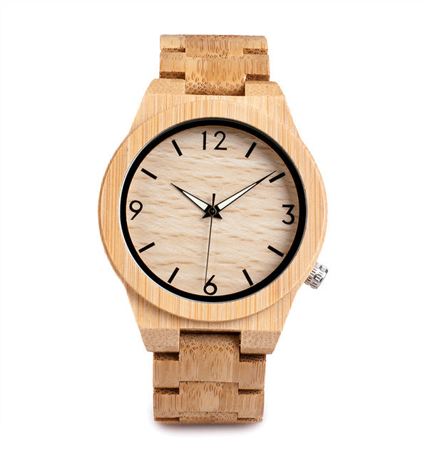 D27 Natural All Bamboo Wood Watches Top