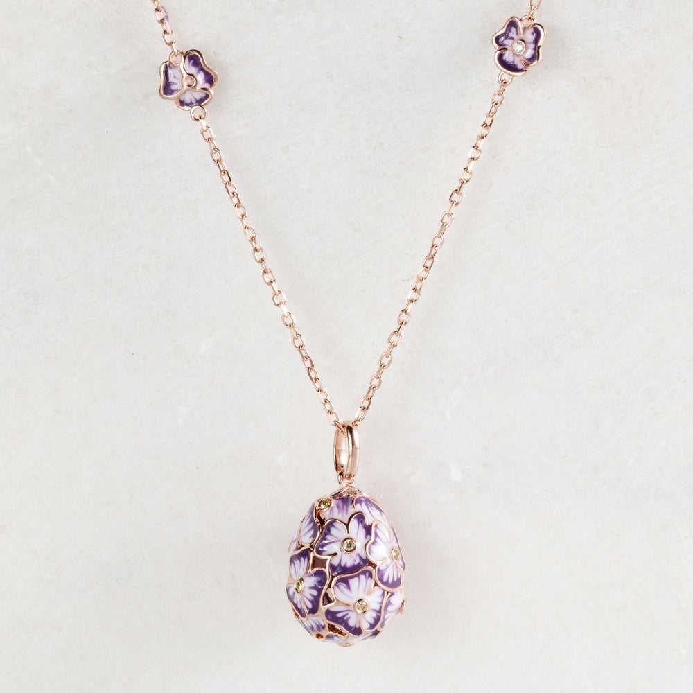 Colier Pale purple Flower Faberge