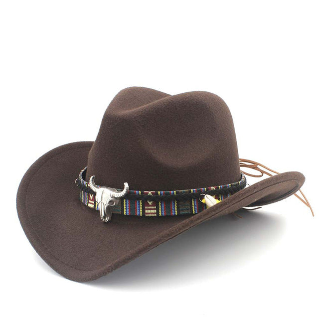 926c8c5b9f6 ... 100% Wool Felt Western Cowboy Hat for Adults - Multicolor (Size 54cm)  ...