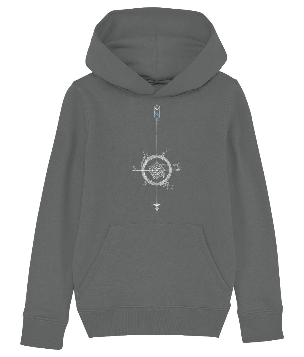 Banshy-grey hoodie - kid- 85% Organic ring-spun combed cotton. 15% recycled polyester- compass-fish-bubbles-arrows-divewear-diver-clothes from the sea