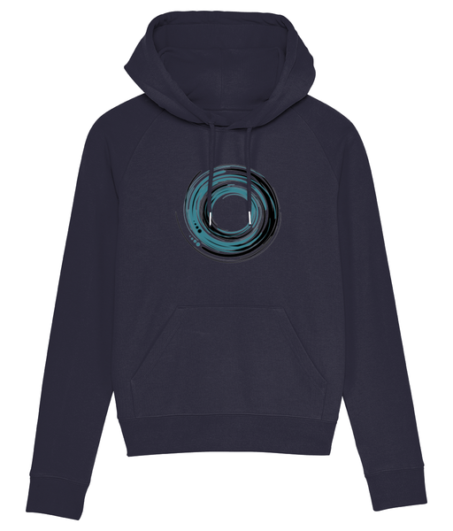 Banshy-clothes from the sea- ocean- blue hoodie-85% Organic ring-spun combed cotton, 15% recycled polyester-swirl of water