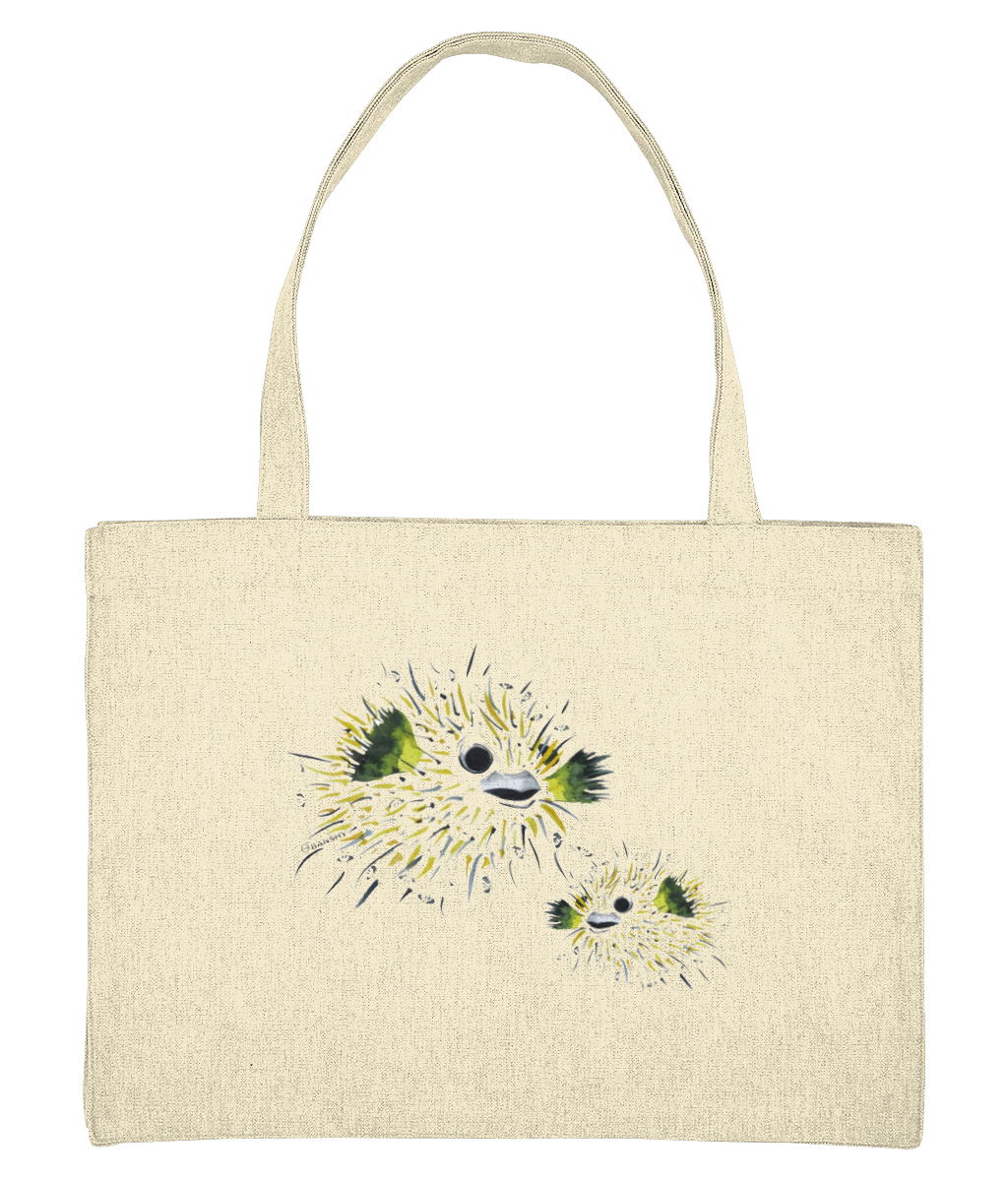 pufferfish - Clothing from the sea - tote bag large- 100% cotton - Banshy