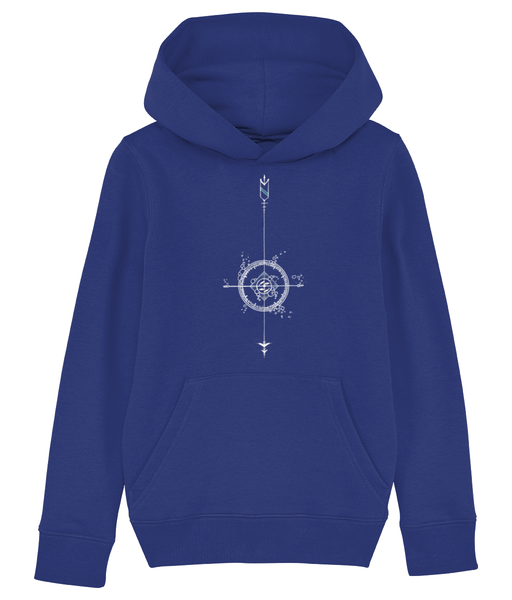 Banshy-ocean hoodie - kid- 85% Organic ring-spun combed cotton. 15% recycled polyester- compass-fish-bubbles-arrows-divewear-diver-clothes from the sea