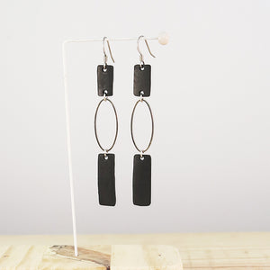 Banshy- Design recycled earrings-stainless steel ,inner tube-Earring upcycled- accessories from the sea- bijoux inspiré de la mer- dive wear-dive accesories - sea brand- bijoux recyclés- boucles d'oreilles recyclés- zero waste-consommer autrement