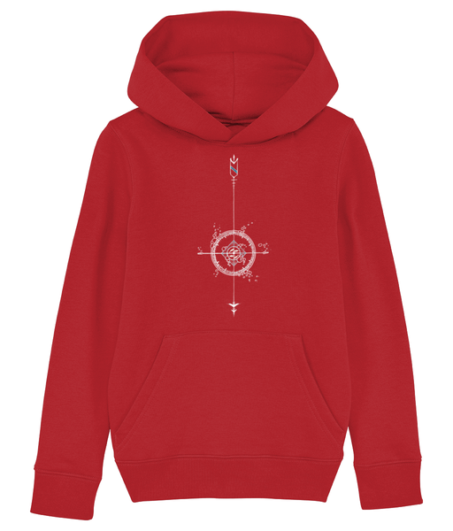 Banshy-red hoodie - kid- 85% Organic ring-spun combed cotton. 15% recycled polyester- compass-fish-bubbles-arrows-divewear-diver-clothes from the sea